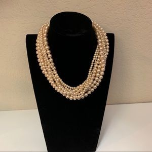Jewelry - Multi Strand Gold Color Pearl Bead Necklace